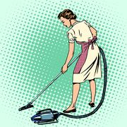 Woman vacuuming the room housewife housework comfort Stock Illustration