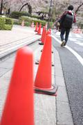 Traffic cone used in road. Stock Photos