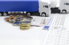 Tachograph with lorry..shows its good way to earn proper wage...... Stock Photos