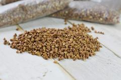 buckwheat groats loose and packed.... - stock photo