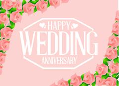 Happy weeding anniversary seal - stock illustration