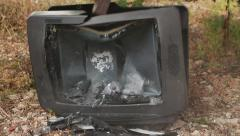 Destroying retro vintage analog tv set with hummer Stock Footage