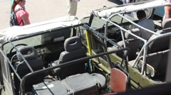 Driver offroad motor tour car for travel Stock Footage