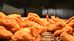 Delicous Fried Chicken Under Warmers Stock Footage