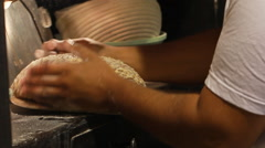 Cutting bread with razor blade  Stock Footage