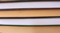 Panning of cover books in the library, row Stock Footage