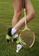 Part of woman who plays badminton Stock Photos