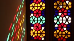 Close Up View of Beautiful Stained Glass Window Stock Footage