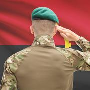Stock Photo of National military forces with flag on background conceptual series - Angola