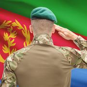 Stock Photo of National military forces with flag on background conceptual series - Eritrea