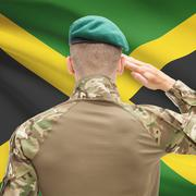 National military forces with flag on background conceptual series - Jamaica - stock photo