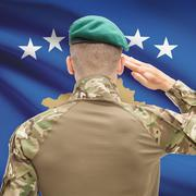 Stock Photo of National military forces with flag on background conceptual series - Kosovo
