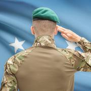 Stock Photo of National military forces with flag on background conceptual series - Micrones