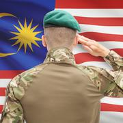 National military forces with flag on background conceptual series - Malaysia - stock photo