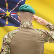 Stock Photo of National military forces with flag on background conceptual series - Niue