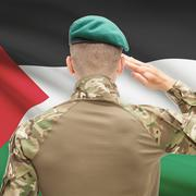 Stock Photo of National military forces with flag on background conceptual series - Palestin