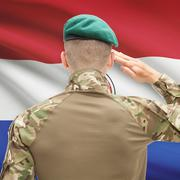 National military forces with flag on background conceptual series - Paraguay - stock photo