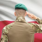 National military forces with flag on background conceptual series - Poland Stock Photos