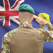 Soldier in hat facing national flag series - Saint Helena Stock Photos