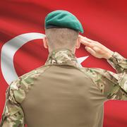 National military forces with flag on background conceptual series - Turkey Stock Photos