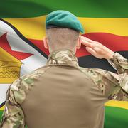 National military forces with flag on background conceptual series - Zimbabwe Stock Photos