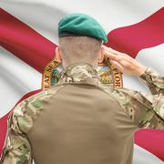 Soldier saluting to USA state flag conceptual series - Florida - stock photo