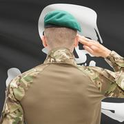 Soldier saluting to USA state flag conceptual series - Jolly Roger Stock Photos