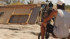 Cameraman and Film Director are Making Movie - stock footage