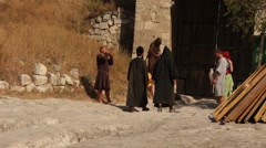 Actress Girls, Actors, Monks in their Vintage Costumes during Film Making - stock footage