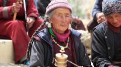 Tibetan old women in Tsam mystery Yuru Kabgyat festival. Lamayuru, Ladakh, India Stock Footage