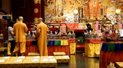 Monks prepares celebrations in Buddhist temple Stock Footage
