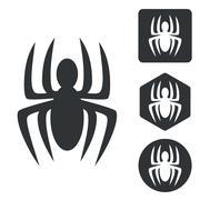 Stock Illustration of Spider icon set, monochrome