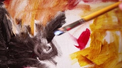 Painting with acrylic on canvas. - stock footage