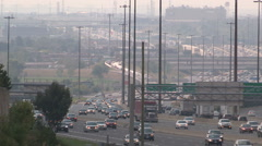 Haze humidity smog and traffic over the 401 in Toronto on hot summer day - stock footage