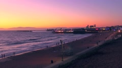 Redondo Beach Sunset Towards Pier Stock Footage