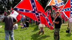 (Clip 7 of 13) Confederate flag supporters - stock footage
