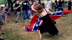 (Clip 1 of 7) Confederate flag protest and riot - Slow Motion version Stock Footage
