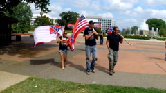 (Clip 4 of 13) Confederate flag supporters (slow motion version) Stock Footage