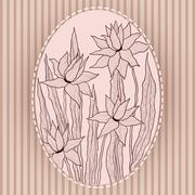 Graceful flowers in vintage frame - stock illustration