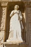 Sculpture in Library of Celsus, Ephesus, Turkey Stock Photos