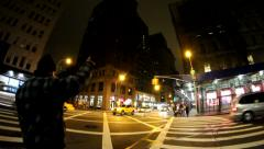 black man catching cab - stock footage
