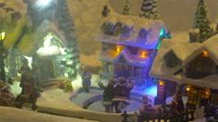 Santa claus Skating And French Christmas Showcase Decoration Stock Footage