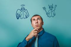 Businessman thinking man looking up angel devil demon infographi Stock Photos
