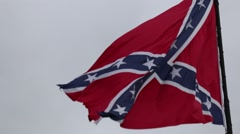 Closeup of Confederate Flag Blowing in Breeze Stock Footage