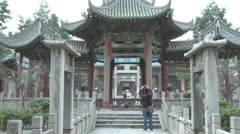 Tourists at Great Mosque, Xian, China Stock Footage