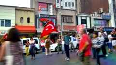 People turned out for the protest at Kadikoy to condemn terrorism - stock footage