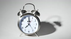 Twin Bell Silver Alarm Clock Isolated on White, 4K  Stock Footage