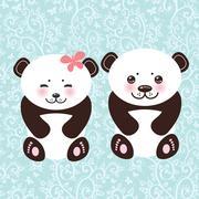 girl and boy Kawaii funny panda white muzzle with pink cheeks and big black eyes - stock illustration
