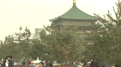 Ancient Drum Tower, Chinese people, Xian Stock Footage