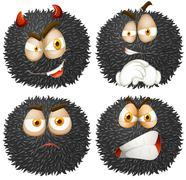 Facial expression on fluffy ball Stock Illustration